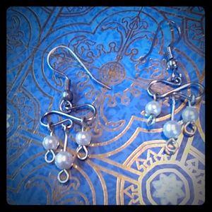 Seed pearl dangle earrings handcrafted